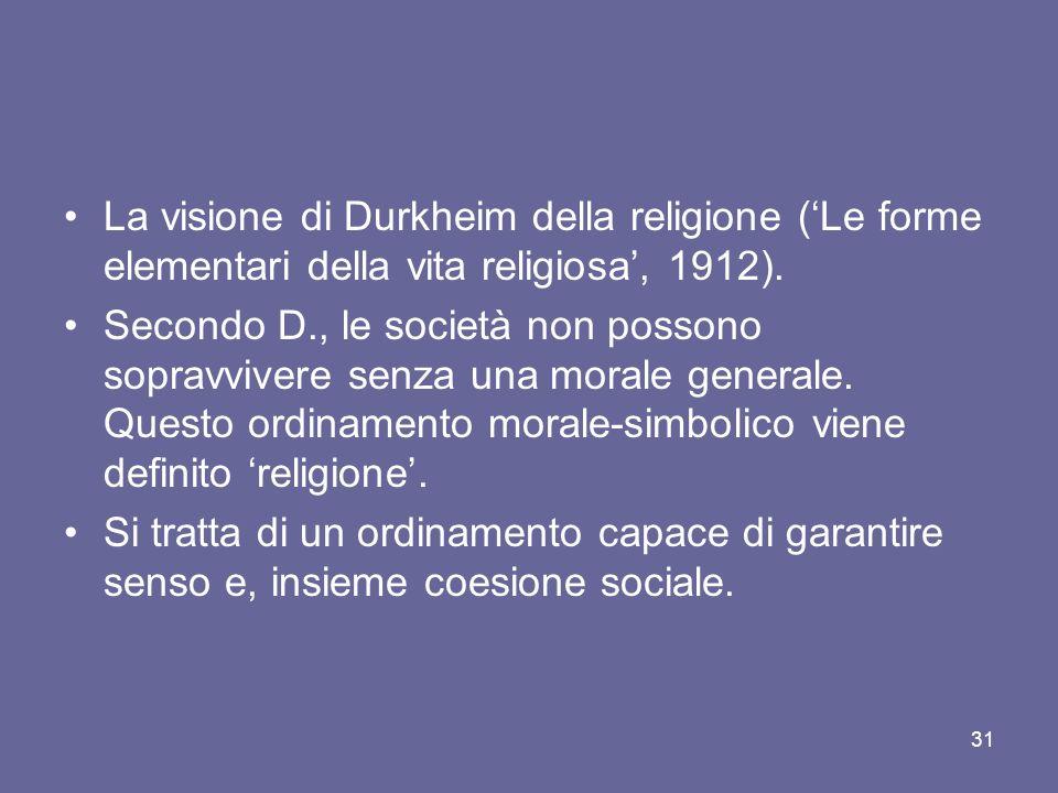 La visione di Durkheim della religione (Le forme elementari della vita religiosa, 1912).