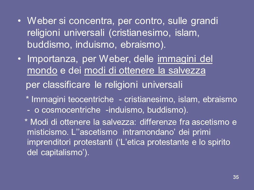 Weber si concentra, per contro, sulle grandi religioni universali (cristianesimo, islam, buddismo, induismo, ebraismo).
