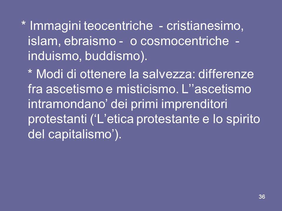 * Immagini teocentriche - cristianesimo, islam, ebraismo - o cosmocentriche - induismo, buddismo).