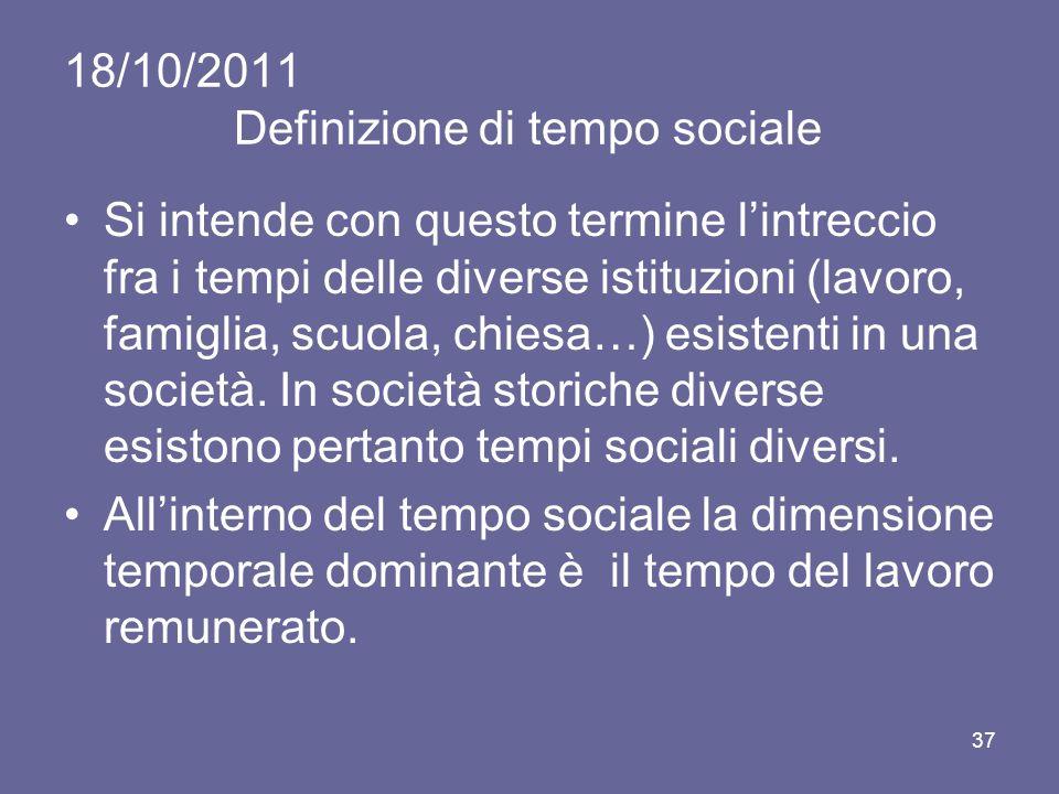 18/10/2011 Definizione di tempo sociale Si intende con questo termine lintreccio fra i tempi delle diverse istituzioni (lavoro, famiglia, scuola, chiesa…) esistenti in una società.