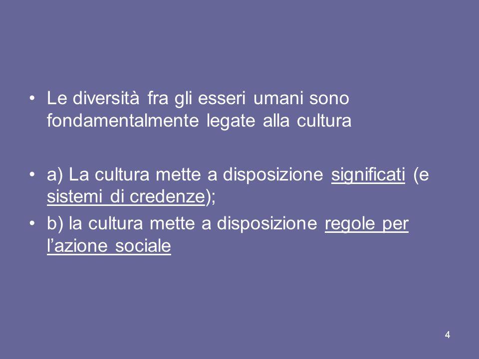 Le diversità fra gli esseri umani sono fondamentalmente legate alla cultura a) La cultura mette a disposizione significati (e sistemi di credenze); b) la cultura mette a disposizione regole per lazione sociale 4