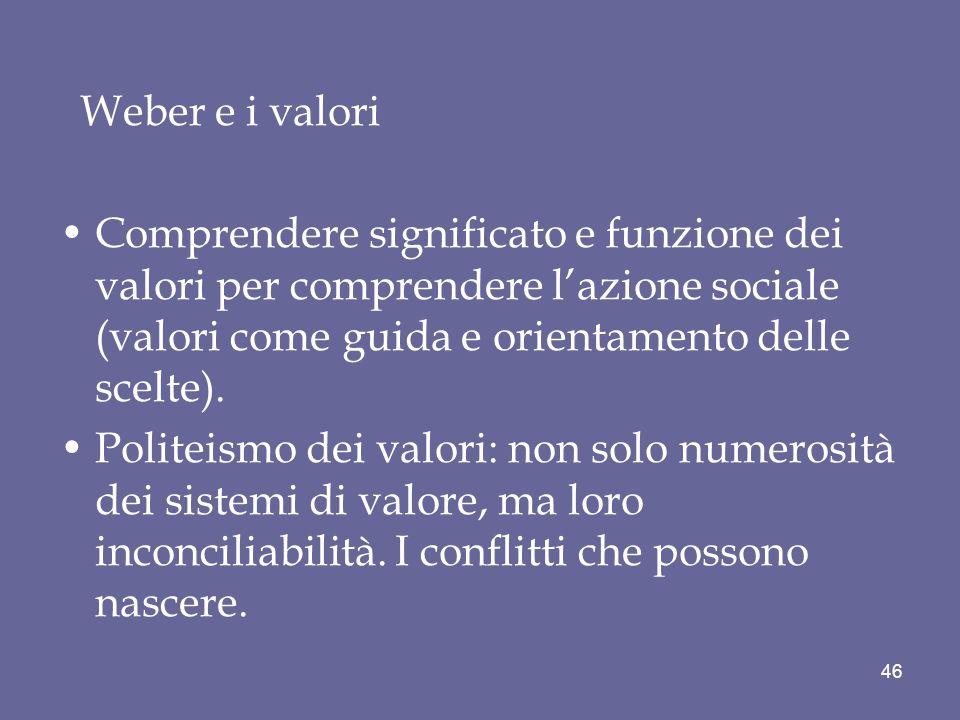 Weber e i valori Comprendere significato e funzione dei valori per comprendere lazione sociale (valori come guida e orientamento delle scelte).