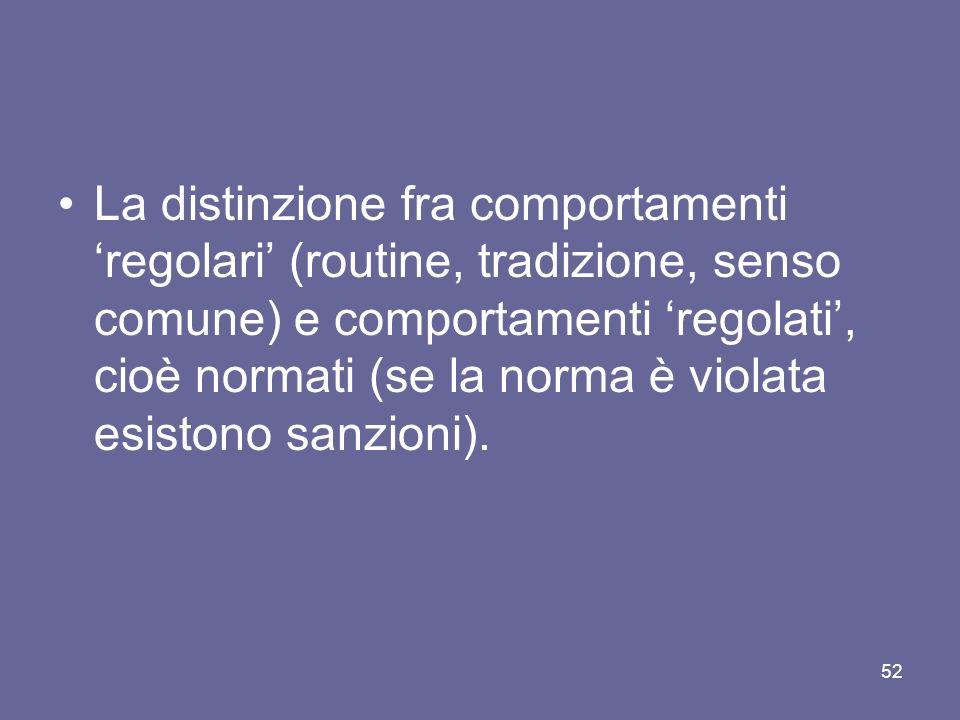 La distinzione fra comportamenti regolari (routine, tradizione, senso comune) e comportamenti regolati, cioè normati (se la norma è violata esistono sanzioni).
