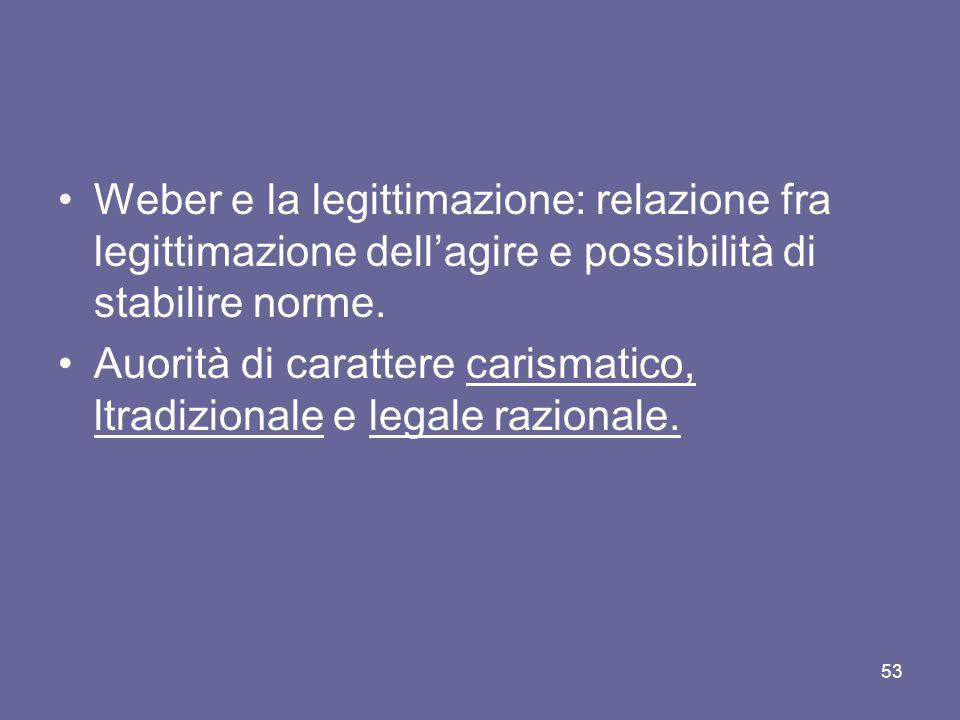 Weber e la legittimazione: relazione fra legittimazione dellagire e possibilità di stabilire norme.