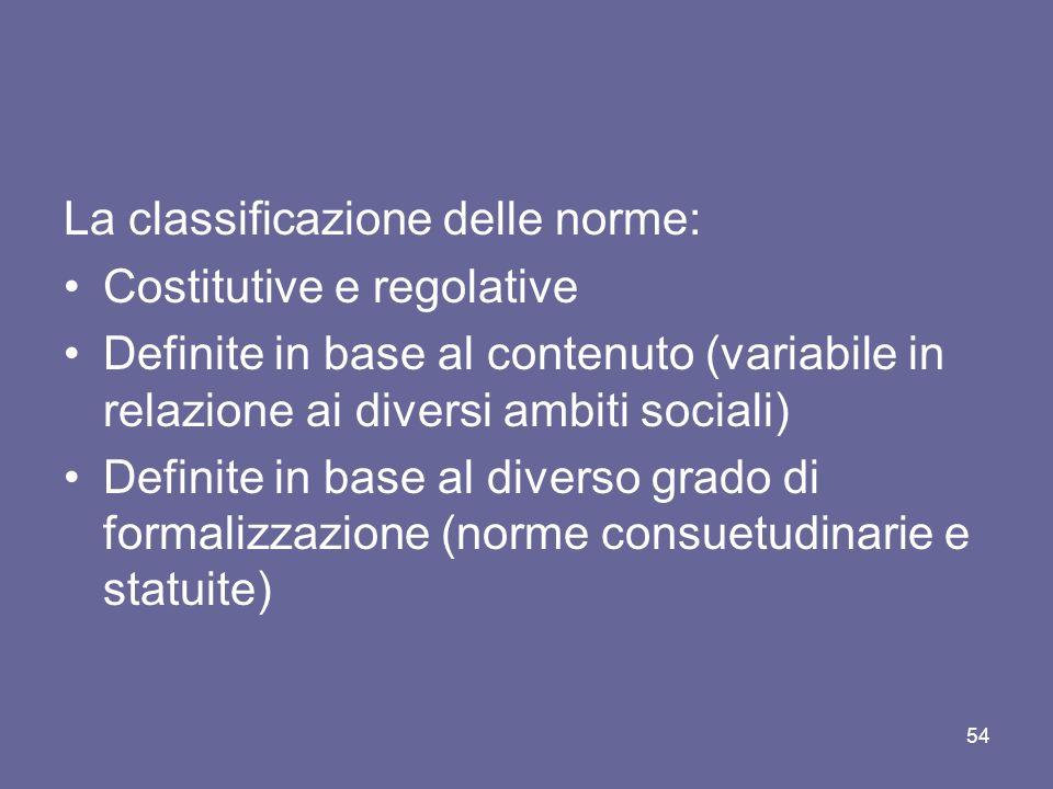 La classificazione delle norme: Costitutive e regolative Definite in base al contenuto (variabile in relazione ai diversi ambiti sociali) Definite in base al diverso grado di formalizzazione (norme consuetudinarie e statuite) 54