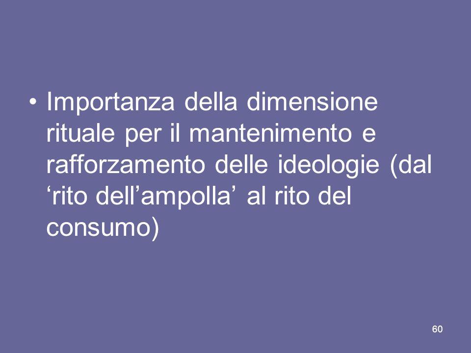 Importanza della dimensione rituale per il mantenimento e rafforzamento delle ideologie (dal rito dellampolla al rito del consumo) 60
