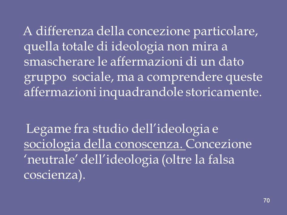 A differenza della concezione particolare, quella totale di ideologia non mira a smascherare le affermazioni di un dato gruppo sociale, ma a comprendere queste affermazioni inquadrandole storicamente.