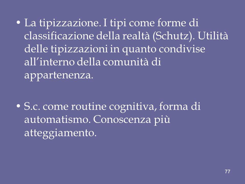 La tipizzazione. I tipi come forme di classificazione della realtà (Schutz).