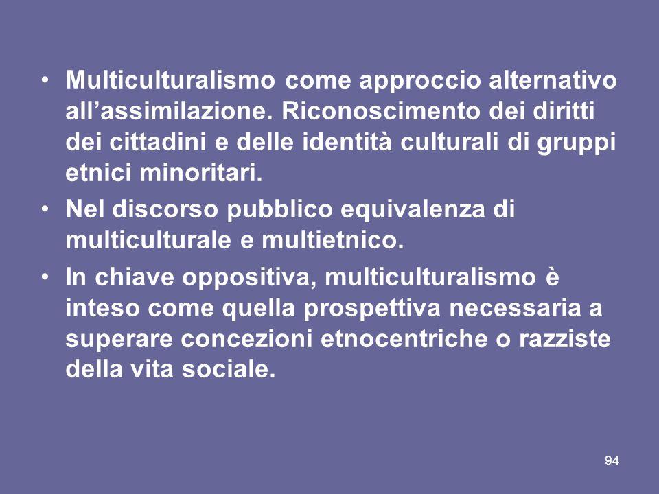 Multiculturalismo come approccio alternativo allassimilazione.
