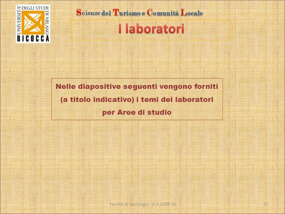 Facoltà di Sociologia - A.A.2009-10 Nelle diapositive seguenti vengono forniti (a titolo indicativo) i temi dei laboratori per Aree di studio 15
