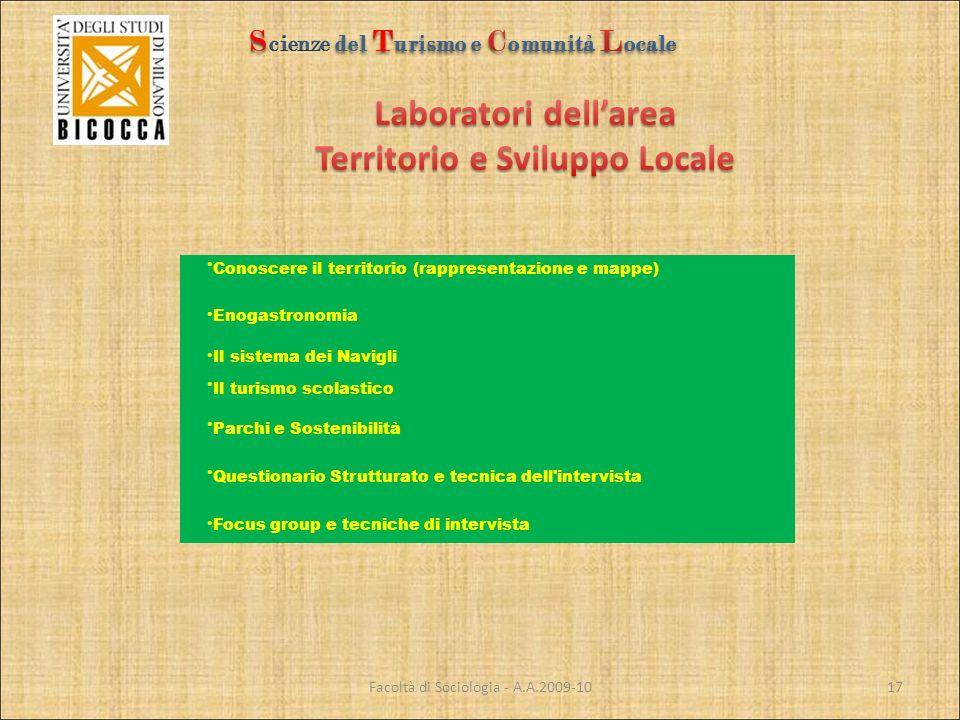 Facoltà di Sociologia - A.A.2009-10 Conoscere il territorio (rappresentazione e mappe) Enogastronomia Il sistema dei Navigli Il turismo scolastico Par