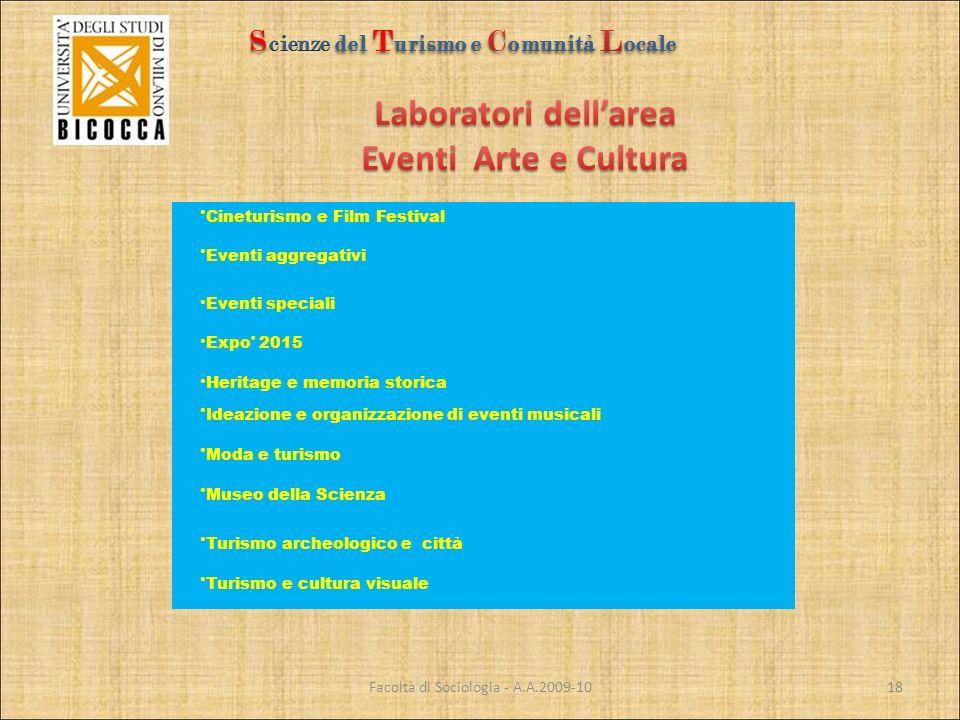 Facoltà di Sociologia - A.A.2009-10 Cineturismo e Film Festival Eventi aggregativi Eventi speciali Expo' 2015 Heritage e memoria storica Ideazione e o