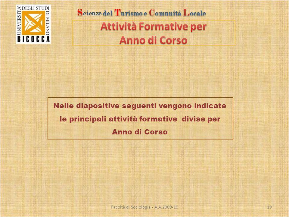 Facoltà di Sociologia - A.A.2009-10 Nelle diapositive seguenti vengono indicate le principali attività formative divise per Anno di Corso 19