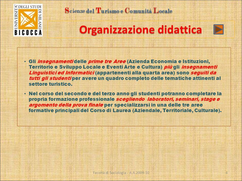 Organizzazione didattica Facoltà di Sociologia - A.A.2009-10 Gli insegnamenti delle prime tre Aree (Azienda Economia e Istituzioni, Territorio e Svilu