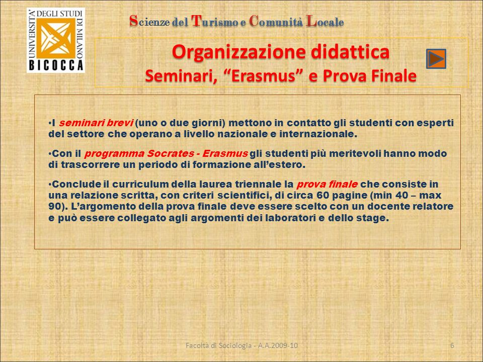 Organizzazione didattica Seminari, Erasmus e Prova Finale Facoltà di Sociologia - A.A.2009-10 I seminari brevi (uno o due giorni) mettono in contatto