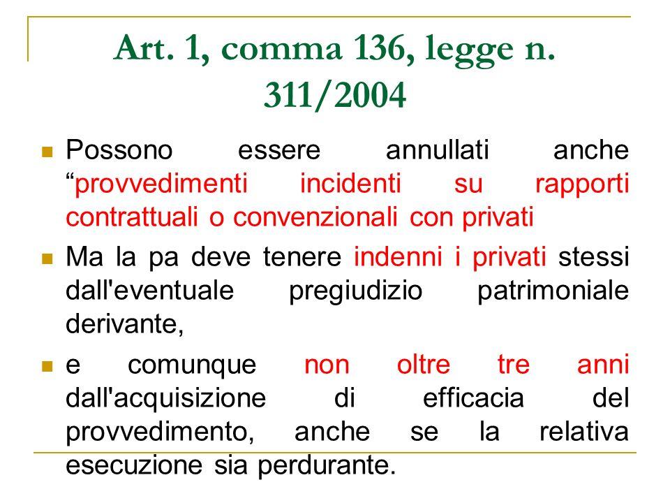 Art. 1, comma 136, legge n. 311/2004 Possono essere annullati ancheprovvedimenti incidenti su rapporti contrattuali o convenzionali con privati Ma la
