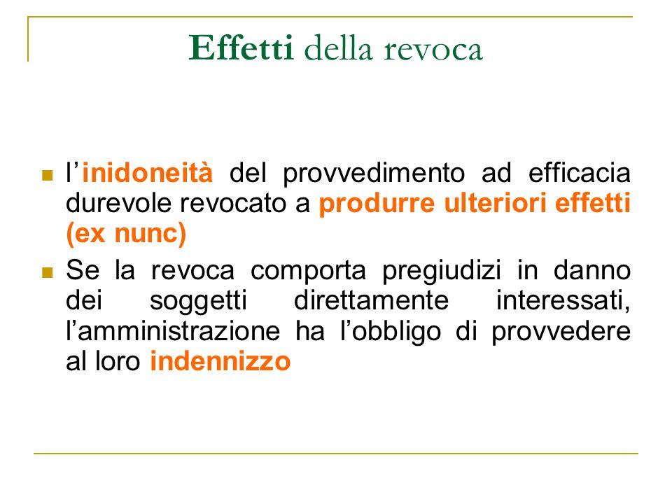 Effetti della revoca linidoneità del provvedimento ad efficacia durevole revocato a produrre ulteriori effetti (ex nunc) Se la revoca comporta pregiud