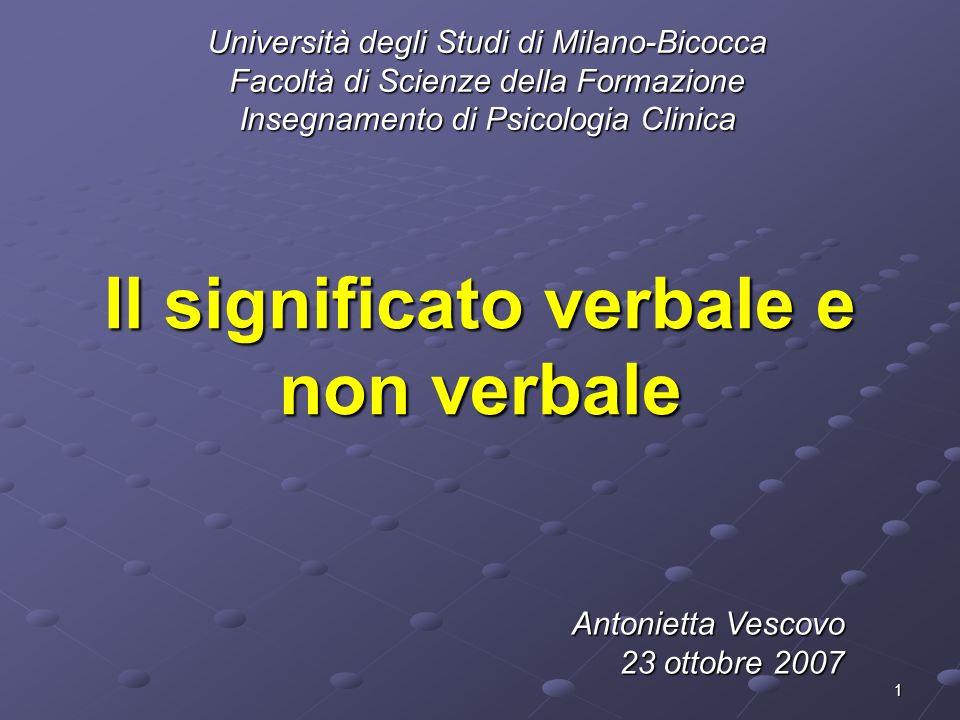 1 Il significato verbale e non verbale Università degli Studi di Milano-Bicocca Facoltà di Scienze della Formazione Insegnamento di Psicologia Clinica