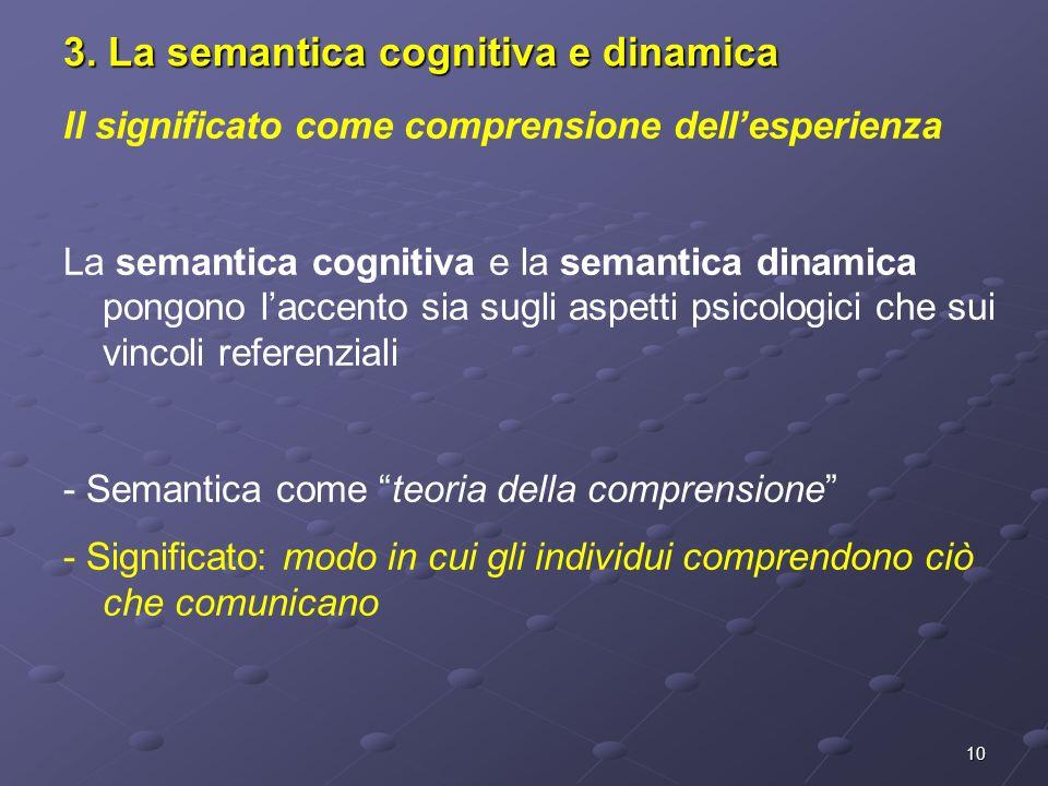 10 3. La semantica cognitiva e dinamica Il significato come comprensione dellesperienza La semantica cognitiva e la semantica dinamica pongono laccent