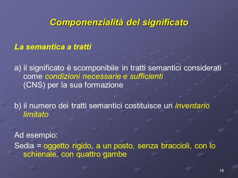 16 La semantica a tratti a) il significato è scomponibile in tratti semantici considerati come condizioni necessarie e sufficienti (CNS) per la sua fo