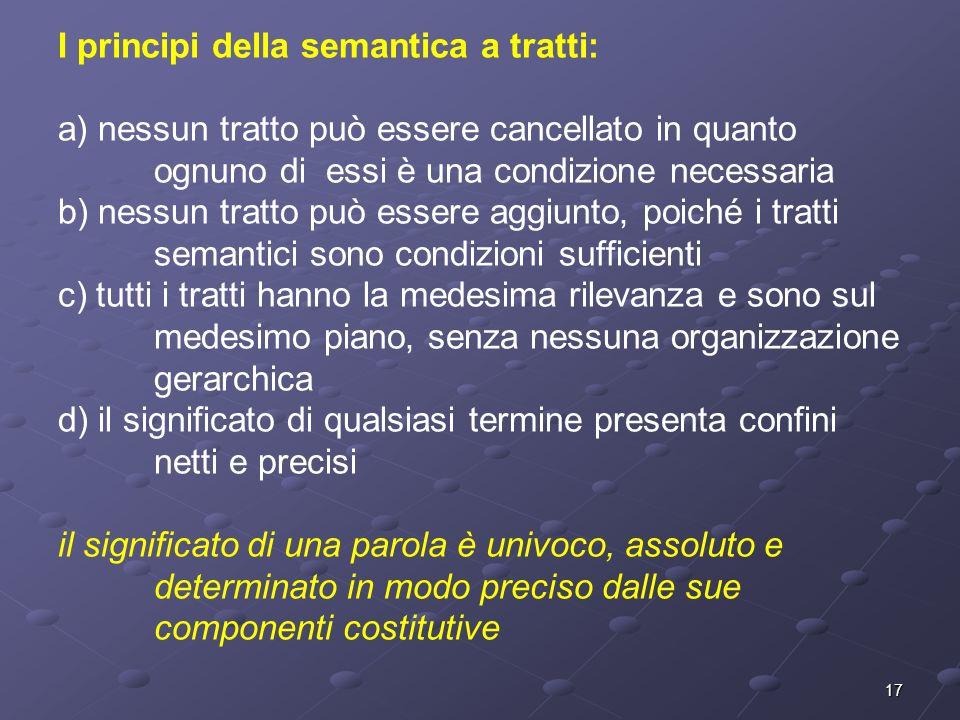 17 I principi della semantica a tratti: a) nessun tratto può essere cancellato in quanto ognuno di essi è una condizione necessaria b) nessun tratto p