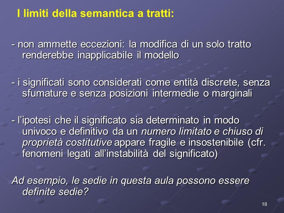 18 I limiti della semantica a tratti: - non ammette eccezioni: la modifica di un solo tratto renderebbe inapplicabile il modello - i significati sono