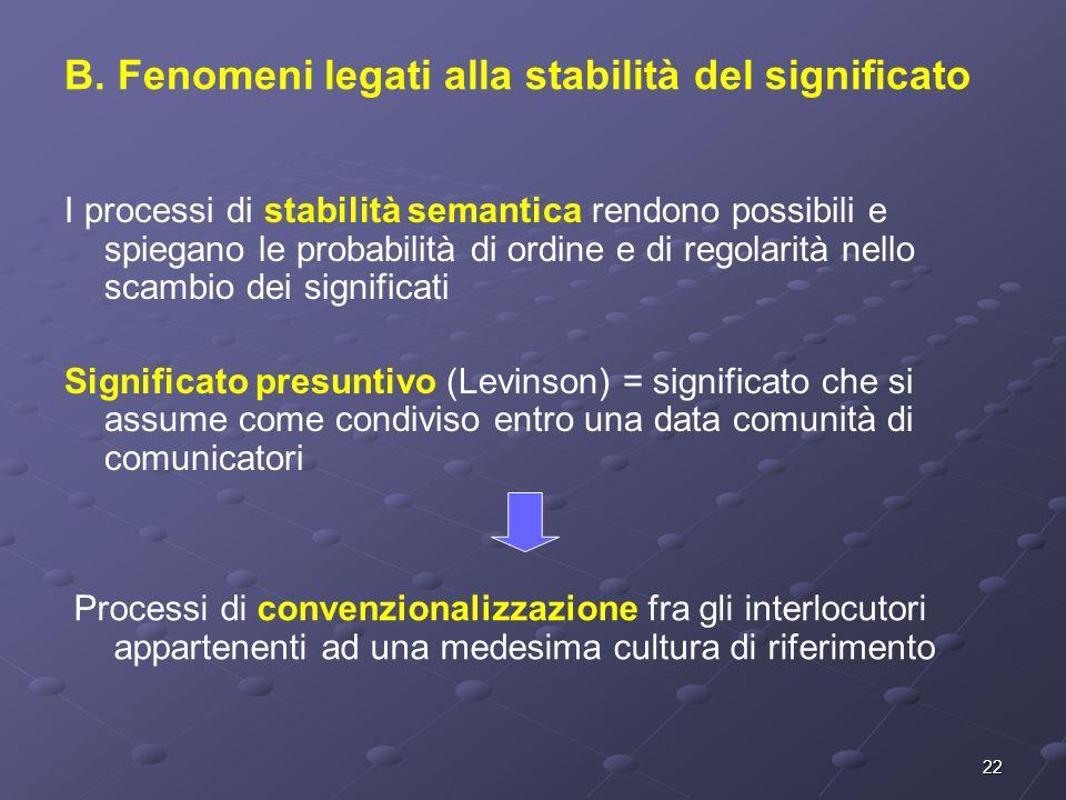 22 I processi di stabilità semantica rendono possibili e spiegano le probabilità di ordine e di regolarità nello scambio dei significati Significato p