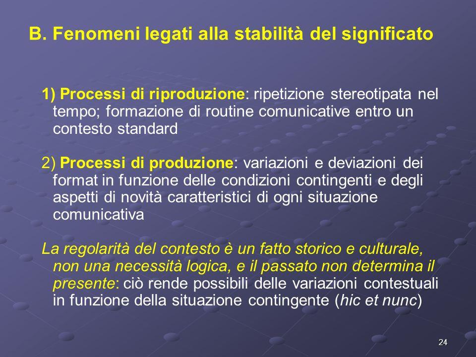 24 1) Processi di riproduzione: ripetizione stereotipata nel tempo; formazione di routine comunicative entro un contesto standard 2) Processi di produ