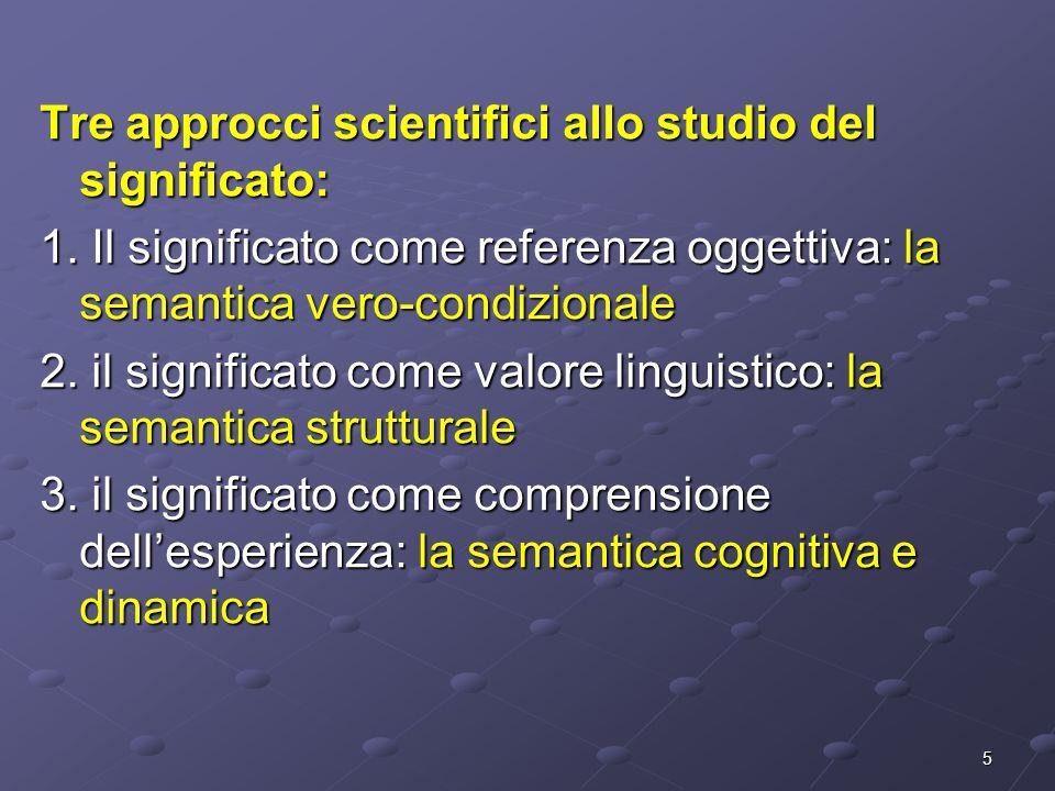 5 Tre approcci scientifici allo studio del significato: 1. Il significato come referenza oggettiva: la semantica vero-condizionale 2. il significato c