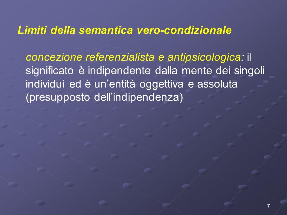 7 Limiti della semantica vero-condizionale concezione referenzialista e antipsicologica: il significato è indipendente dalla mente dei singoli individ