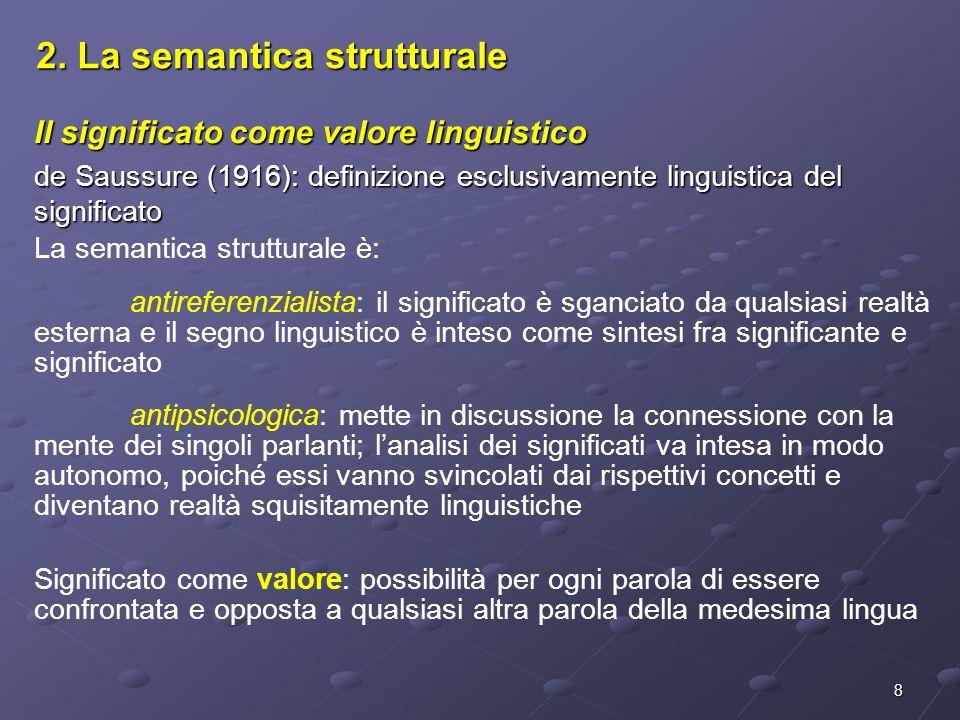 8 2. La semantica strutturale Il significato come valore linguistico de Saussure (1916): definizione esclusivamente linguistica del significato La sem