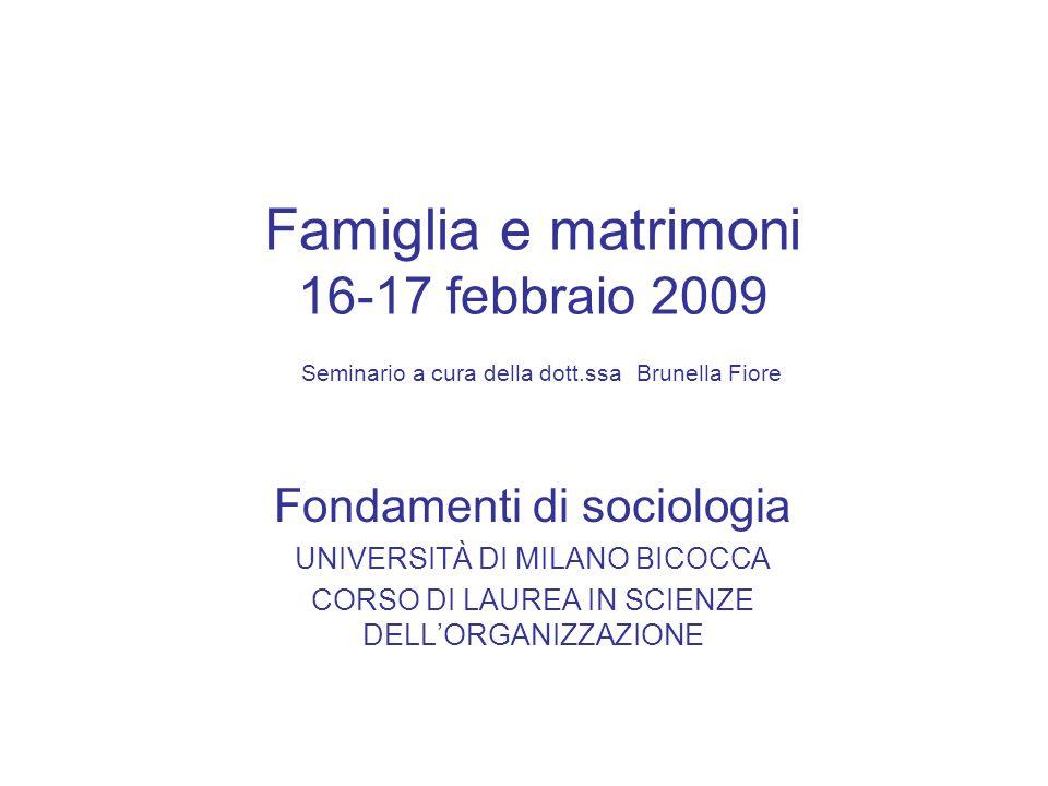 Famiglia e matrimoni 16-17 febbraio 2009 Seminario a cura della dott.ssa Brunella Fiore Fondamenti di sociologia UNIVERSITÀ DI MILANO BICOCCA CORSO DI
