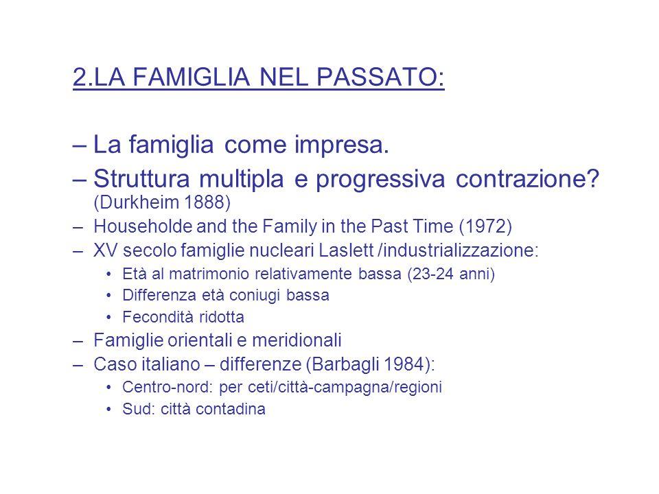 2.LA FAMIGLIA NEL PASSATO: –La famiglia come impresa. –Struttura multipla e progressiva contrazione? (Durkheim 1888) –Householde and the Family in the