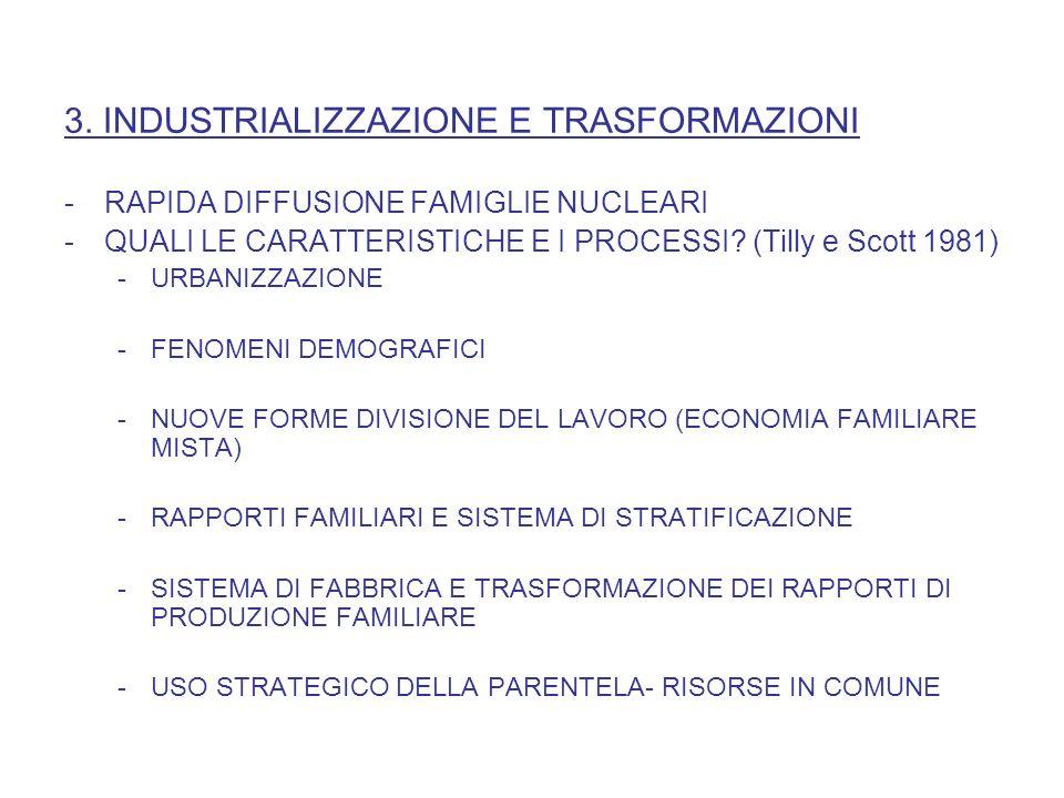 3. INDUSTRIALIZZAZIONE E TRASFORMAZIONI -RAPIDA DIFFUSIONE FAMIGLIE NUCLEARI -QUALI LE CARATTERISTICHE E I PROCESSI? (Tilly e Scott 1981) -URBANIZZAZI