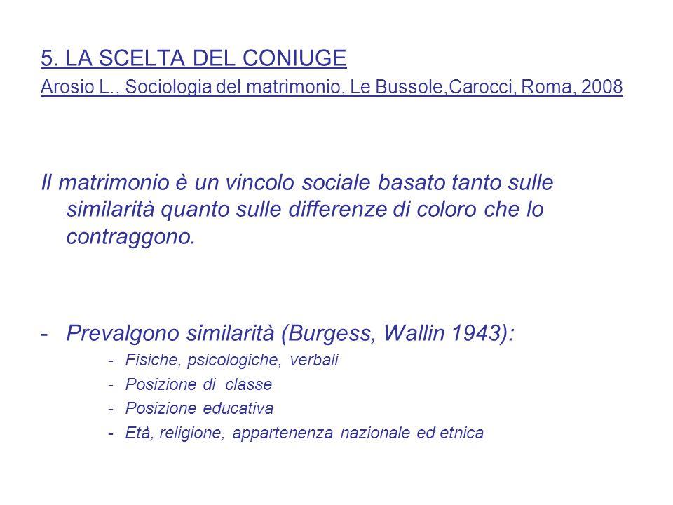 5. LA SCELTA DEL CONIUGE Arosio L., Sociologia del matrimonio, Le Bussole,Carocci, Roma, 2008 Il matrimonio è un vincolo sociale basato tanto sulle si