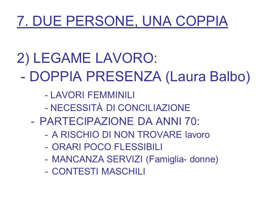7. DUE PERSONE, UNA COPPIA 2) LEGAME LAVORO: - DOPPIA PRESENZA (Laura Balbo) - LAVORI FEMMINILI - NECESSITÀ DI CONCILIAZIONE -PARTECIPAZIONE DA ANNI 7