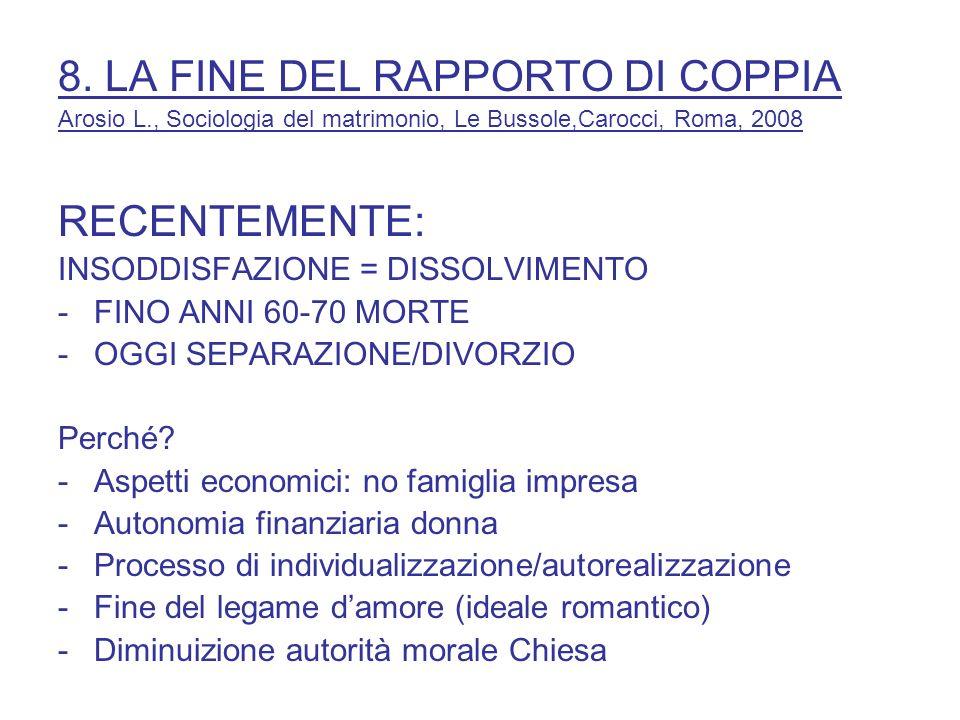 8. LA FINE DEL RAPPORTO DI COPPIA Arosio L., Sociologia del matrimonio, Le Bussole,Carocci, Roma, 2008 RECENTEMENTE: INSODDISFAZIONE = DISSOLVIMENTO -