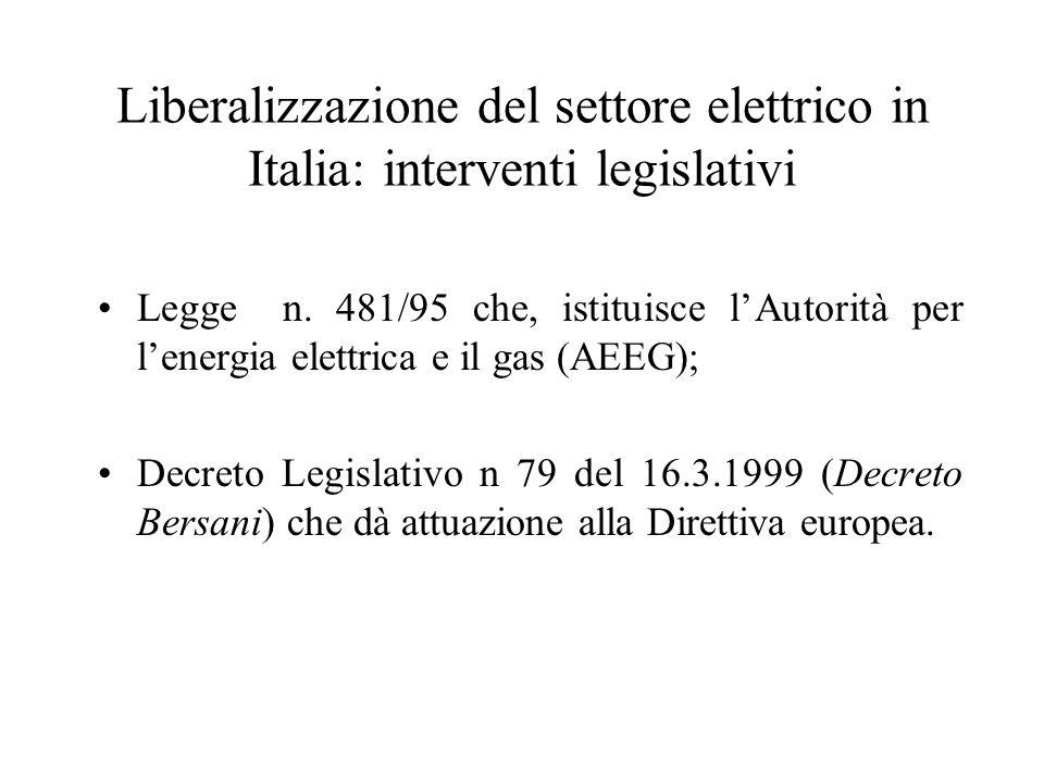 Liberalizzazione del settore elettrico in Italia: interventi legislativi Legge n.