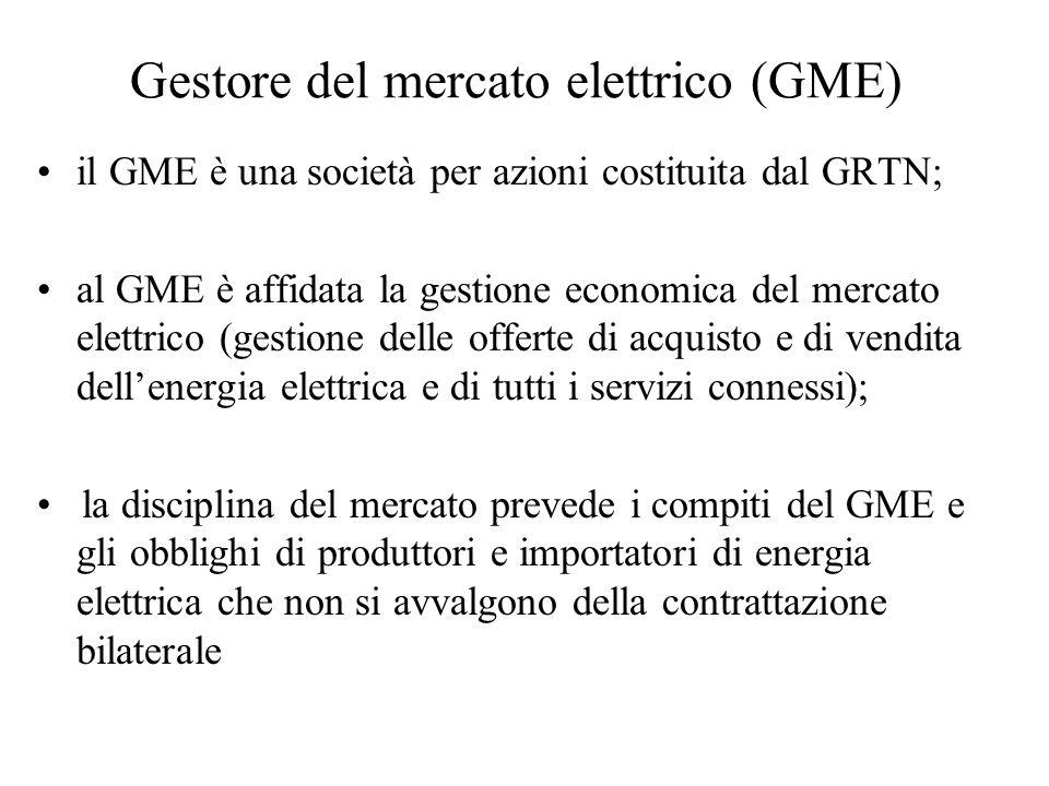 Gestore del mercato elettrico (GME) il GME è una società per azioni costituita dal GRTN; al GME è affidata la gestione economica del mercato elettrico (gestione delle offerte di acquisto e di vendita dellenergia elettrica e di tutti i servizi connessi); la disciplina del mercato prevede i compiti del GME e gli obblighi di produttori e importatori di energia elettrica che non si avvalgono della contrattazione bilaterale