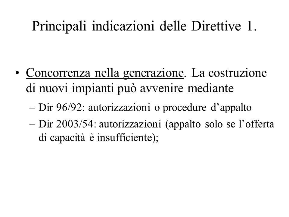 Principali indicazioni delle Direttive 1. Concorrenza nella generazione.