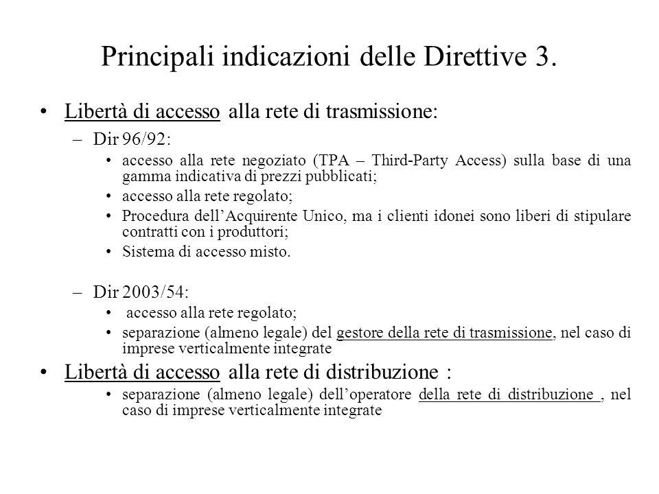 Principali indicazioni delle Direttive 3.