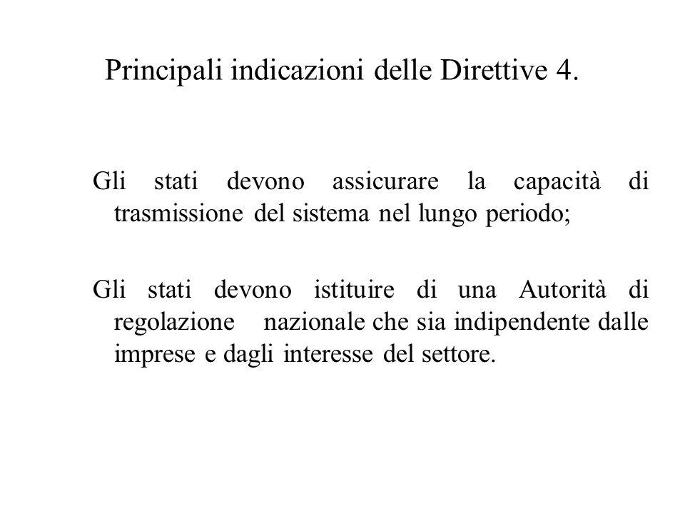 Principali indicazioni delle Direttive 4.