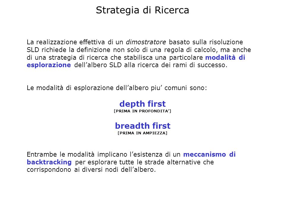 Strategia di Ricerca La realizzazione effettiva di un dimostratore basato sulla risoluzione SLD richiede la definizione non solo di una regola di calc