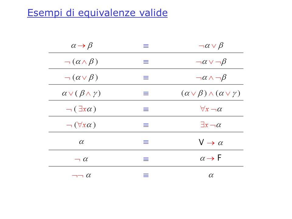 x x x x V F Esempi di equivalenze valide