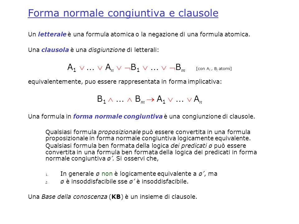 Forma normale congiuntiva e clausole Un letterale è una formula atomica o la negazione di una formula atomica. Una clausola è una disgiunzione di lett