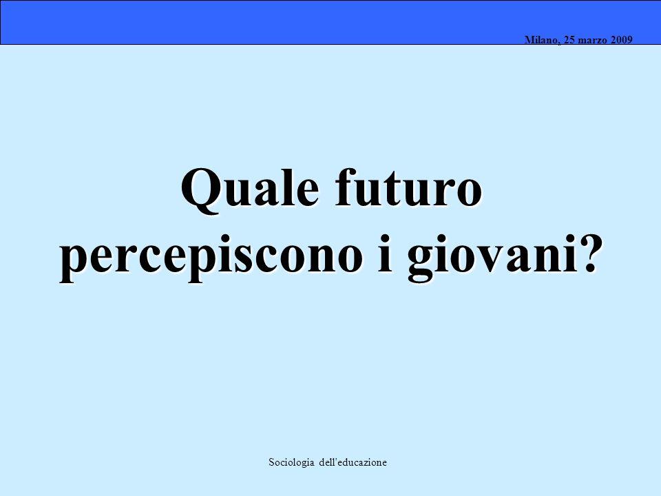 Milano, 26 marzo 2008 Milano, 23 marzo 2009Milano, 25 marzo 2009 Sociologia dell'educazione Quale futuro percepiscono i giovani?