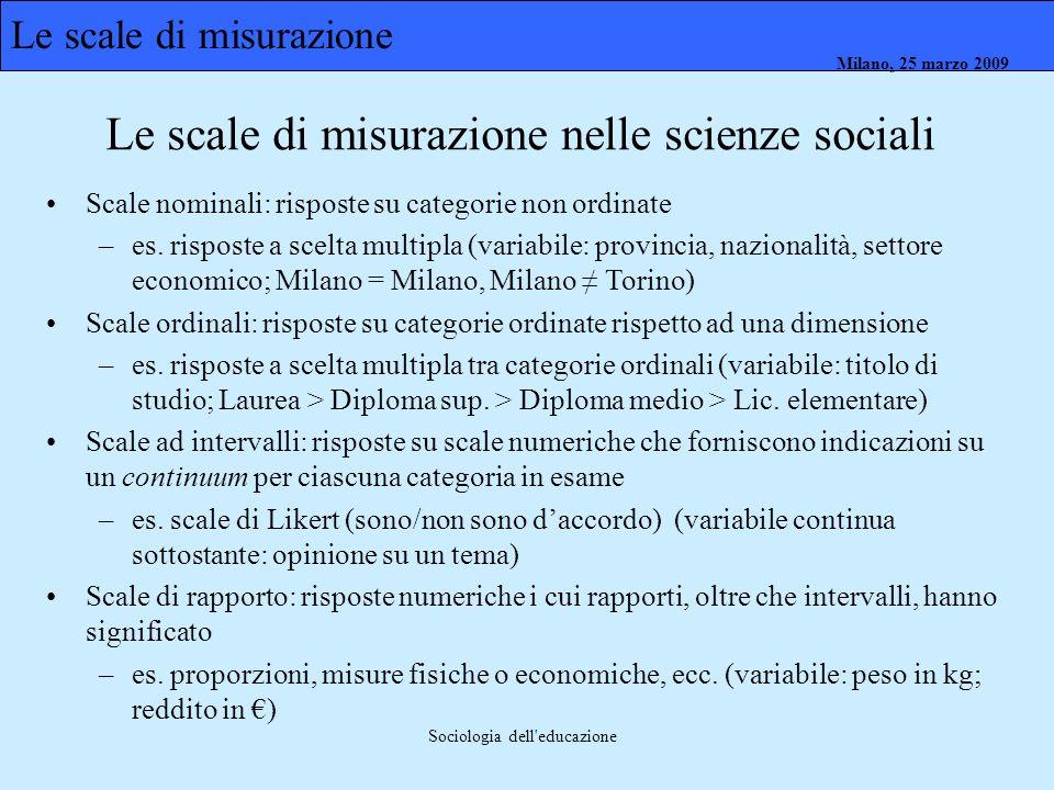 Milano, 26 marzo 2008 Milano, 23 marzo 2009Milano, 25 marzo 2009 Sociologia dell'educazione Scale nominali: risposte su categorie non ordinate –es. ri