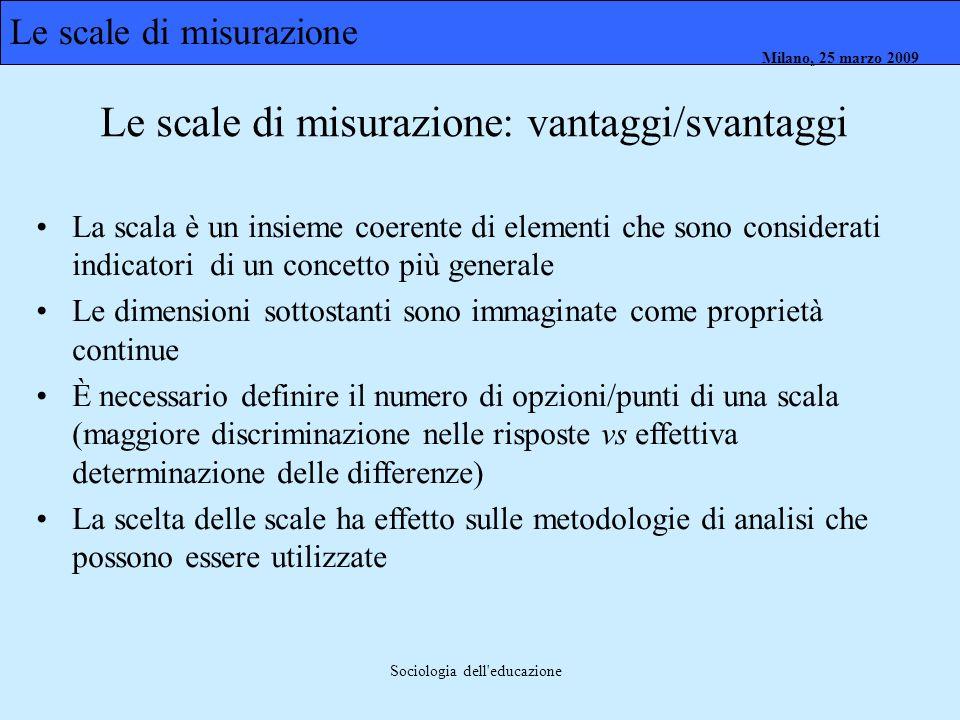 Milano, 26 marzo 2008 Milano, 23 marzo 2009Milano, 25 marzo 2009 Sociologia dell'educazione La scala è un insieme coerente di elementi che sono consid