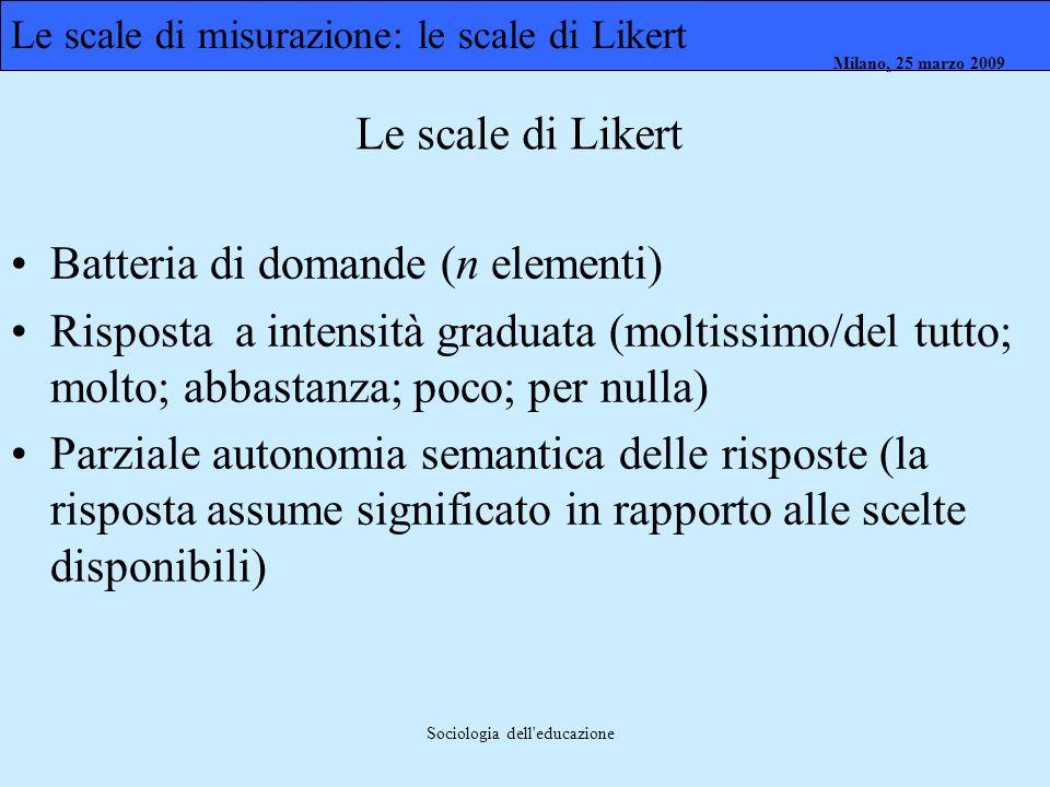 Milano, 26 marzo 2008 Milano, 23 marzo 2009Milano, 25 marzo 2009 Sociologia dell'educazione Batteria di domande (n elementi) Risposta a intensità grad