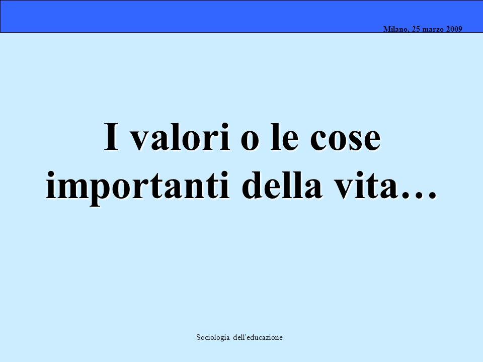 Milano, 26 marzo 2008 Milano, 23 marzo 2009Milano, 25 marzo 2009 Sociologia dell'educazione I valori o le cose importanti della vita…
